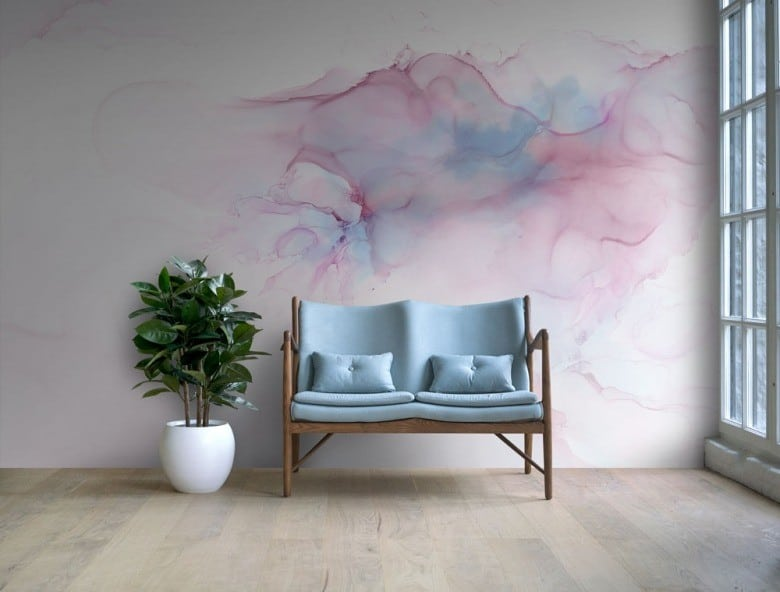 watercolor-wallpaper-in-a-minimalist-room