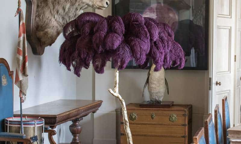 ostrich feather lamp by Aynhoe park