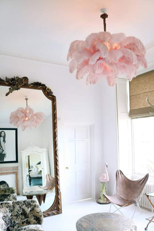 Ostrich feather chandelier by a modern grand tour