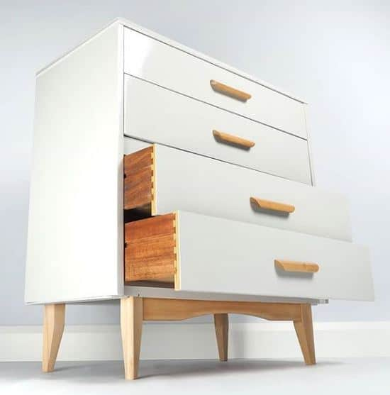 mid-century chest of drawers painted using Vintro paint